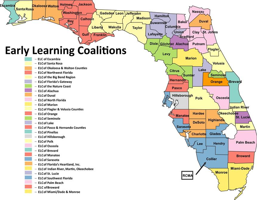 Map of Early Learning Coalitions Grouped by Counties.